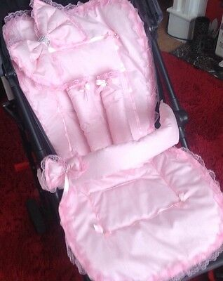 Pram liner with matching Bumper Bar Cover,bow  and harness straps
