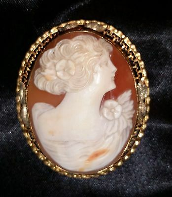 Antq Large Shell Cameo Brooch AMCO Gold Filled Filigree Carved Art Nouveau Pin