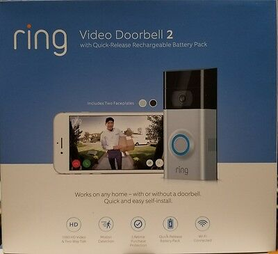Ring Video Doorbell 2 Newest Version brand New sealed!  Fast Free shipping!! Wow