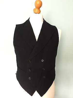 Vintage Edwardian 1920's Double Breasted  Black Waistcoat Size 40