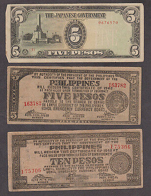 Japan - Six different occupation of Philippines currency