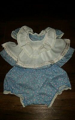 My Child doll blue floral pinny set