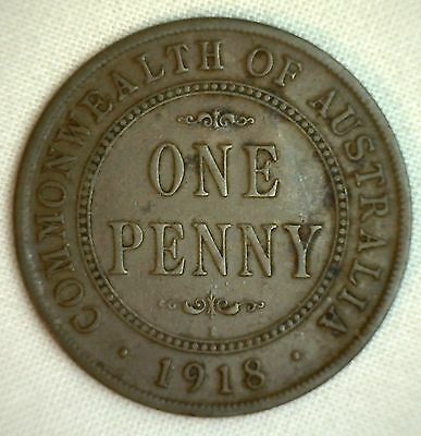 1918 Bronze Australia George V Large Penny Large One Cent Coin YG You Grade It