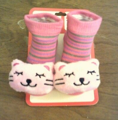 "Infant Baby Pink Kitty Kidgets 3D Animal Socks = 0-12 Months    ""sale"""