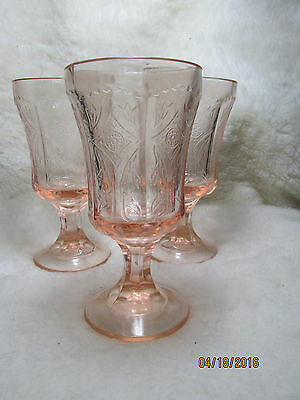 3 Federal Pink Madrid Footed Goblets EUC