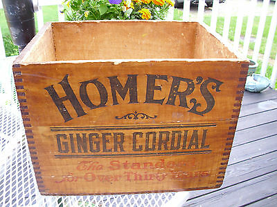 Antique 1900 HOMER'S GINGER CORDIAL Lash's Dovetailed Wood Advertising Box RARE