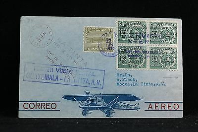 Guatemala: 1935 First Flight Cover to La Tinta, A.V.