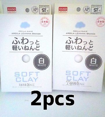 F/S DAISO Japan DIY Soft Clay Lightweight Modeling Air Dry White 2 packs set
