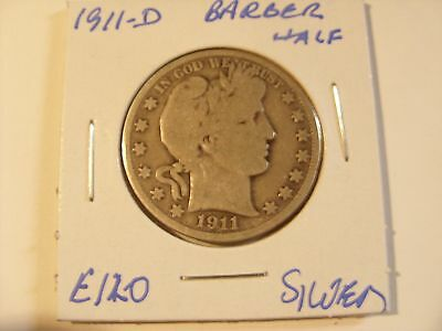 Very nice 1911-D  Silver Barber Half Dollar Check out the pictures (E120)