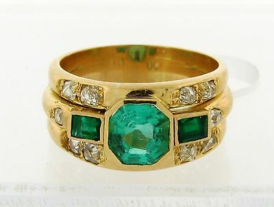 Original Art Deco Emerald Diamond 18k Yellow Gold Ring
