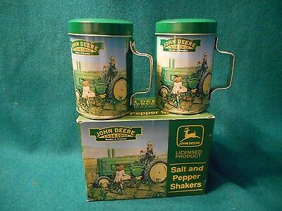 John Deere Tin Salt & Pepper Shakers With Handles