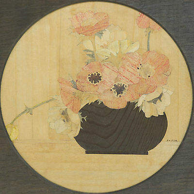 J.A.J. - 1932 Inlaid Pot of Flowers Picture