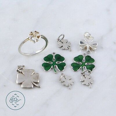 Sterling Silver | (QTY 8) Enamel Lucky Clover Charms Ring (Size 9) 15.8g | Lot