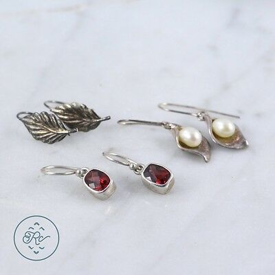 Sterling Silver | (QTY 3 Pair) Assorted Pearl Garnet Dangle Earring 7.5g | Lot