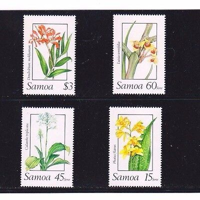"Samoa, 1989, ""flower"" Set Of 4 Stamps Mint Nh Fresh Good Condition"