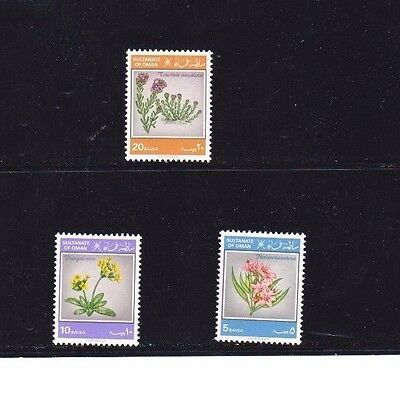 """Oman, 1982, """"flowers"""" Set Of 3 Stamps Mint Nh Fresh Good Condition"""
