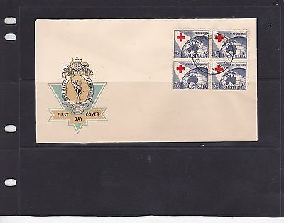 1954 Red Cross Blk Of 4  On Hermes  Po Generic Fdc Unaddressed