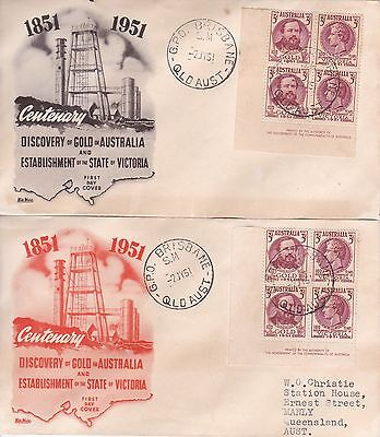 1951  Centenary  Discovery Of Gold In Oz Imprint Blocks Wide World