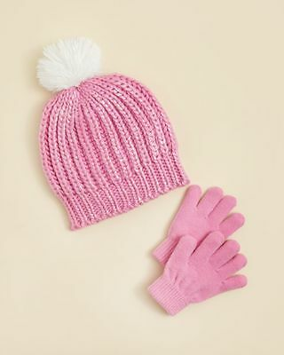 CAPELLI OF NEW YORK $20 NEW 1224 Pink Knit Hat & Gloves 2Pc Set Girls Kids S/M