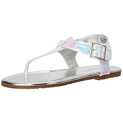 Kensie Girl 7511 Girls Silver Flat T-Strap Sandals Shoes 3 Medium (B,M) BHFO