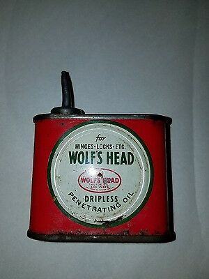 Vintage Wolf's Head lead top penetrating oil can