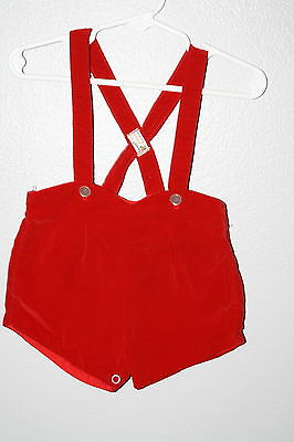 VINTAGE~ FAWN FASHION sz L 21 to 28lbs RED VELOUR SHORTS OVERALLS BOYS NICE