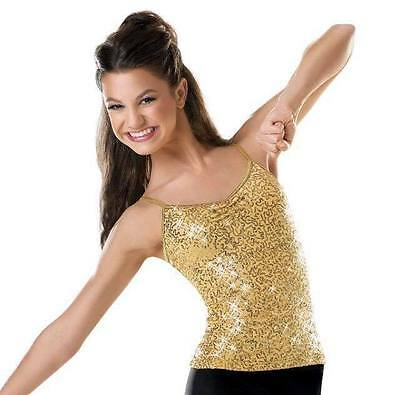 WOW~ BALERA sz MA GOLD SHIMMER SEQUINS TANK TOP