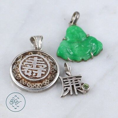 Sterling Silver | (QTY 3) Assorted Eastern Carved Jade Buddha Pendant 12g | Lot