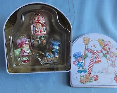 Carlton Cards STRAWBERRY SHORTCAKE & FRIENDS CHRISTMAS ORNAMENTS 3pc with box