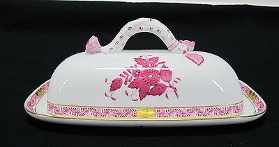Fine Porcelain Herend Hungary Pink Roses with Gold Accents Butter Dish 398 yqz