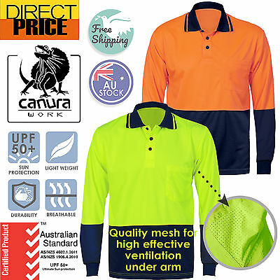Hi Vis Polo Shirt Long Sleeve Workwear Safety Cool Dry Air Vents AU Standard UPF