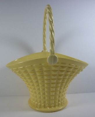 Vintage Regaline Pale Yellow Flower Basket with Moving Handle
