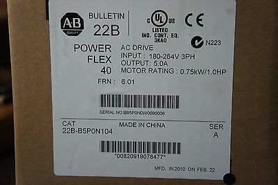 Allen Bradley 22B-B5P0N104 Power Flex 40 Drive New Sealed 1HP SER A  240 VOLT