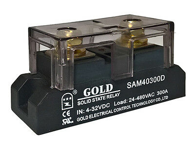 Solid State Relay UL 4-32VDC-in, 40-480VAC-out, 300Amps! (Pt# SAM40300D)