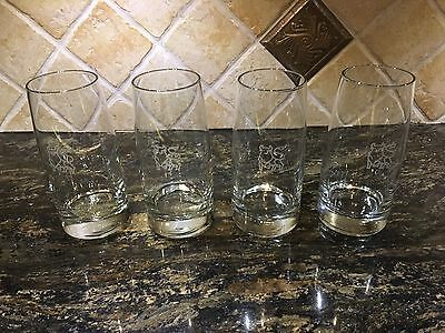 Vintage Set Of 4 Merrill Lynch Etched Bull Logo Highball Bar Beer Glasses