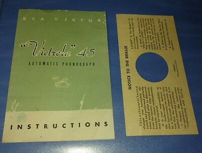 """Instructions RCA Victor """"Victrola"""" 45 Automatic Phonograph Vintage Record player"""