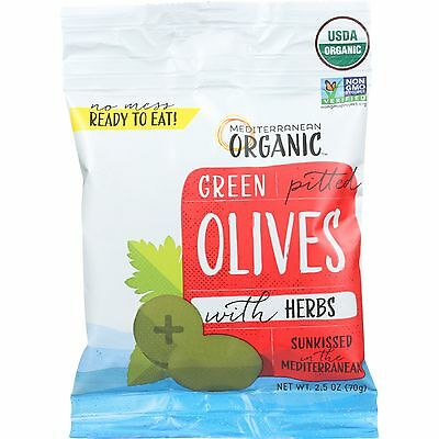 Organic Olives; Green Pited With Herbs