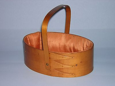 Antique Shaker Oval Box Sewing Carrier 3 Fine Fingers, Copper Tacks, Silk Lining