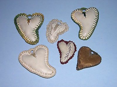 Lot - 6 Antique Miniature Heart Sewing Pin Cushions, Leather & 1 Silk, Vintage