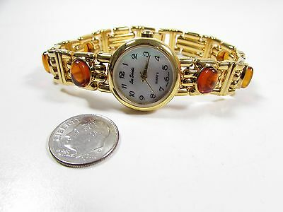 Lee Sands MOP Watch Face w Amber Cabochons
