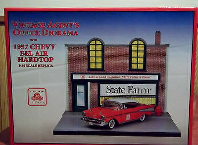 State Farm Vintage Agent's Office Diorama w/Red 1957 Chevy Bel Air Hardtop 1:24