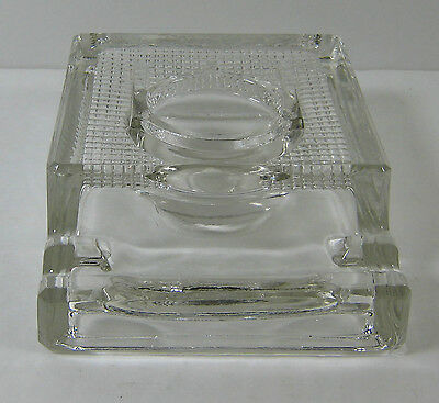 Vintage Clear Glass Inkwell with 2 Pen Holder