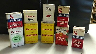 Vintage Lot of 9 Spice Tins/Boxes Crown Colony, Durkee, Schilling Brands