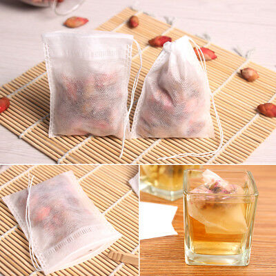 100Pcs Paper Empty Draw String Teabags Heat Seal Filter Herb Loose Tea Bag Pouch