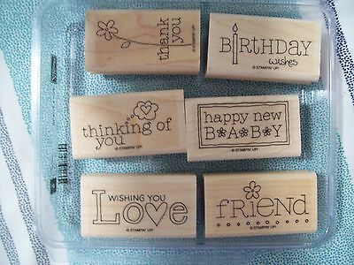 Stampin' Up For a Friend Stamp Set Lot of 6 stamps baby thank you birthday love