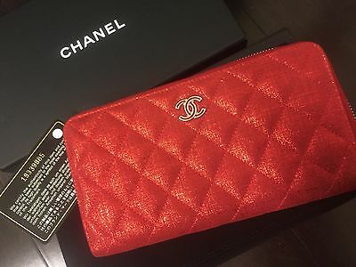 chanel Auth Leather Matelasse Bifold Long Wallet Zip Around Purse RED NEW