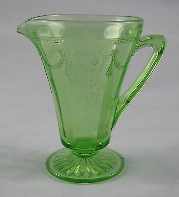 Vintage Green Depression Glass Creamer Footed Cameo Ballerina Pattern