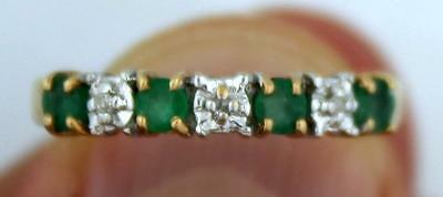 10k Yellow Gold Diamond & Green Emerald Ring