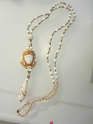 Czech Max Neiger Egyptian Sphinx Glass Bead Drop Necklace