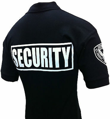 Security Polo Shirt Deluxe New 100% Cotton Black With White Letters